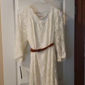 Ivory Lace Shoulder Dress
